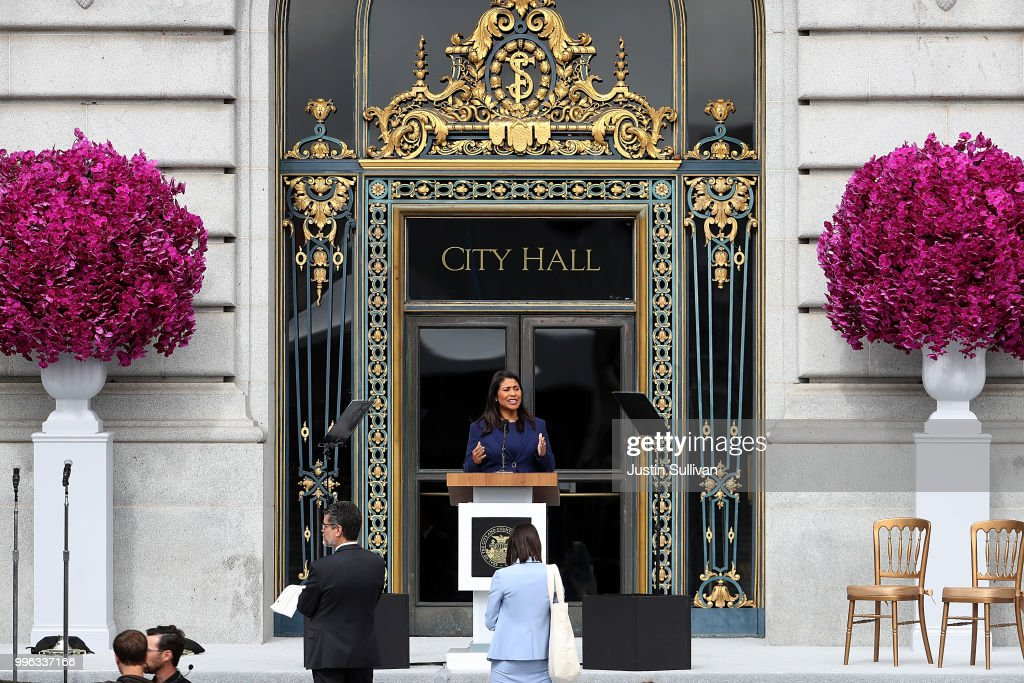 San Francisco mayor-elect London Breed rehearses her speech before the start of her inauguration at San Francisco City Hall on July 11, 2018 in San Francisco, California. London Breed will make history when she is being sworn in as the first black woman to be elected as mayor of San Francisco. Breed will finish out the term of former San Francisco mayor Ed Lee who died unexpectedly last year.
