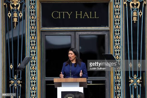 San Francisco mayorelect London Breed rehearses her speech before the start of her inauguration at San Francisco City Hall on July 11 2018 in San...