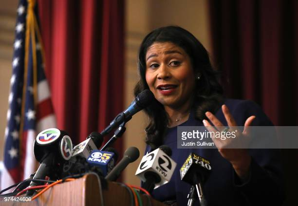 San Francisco Mayorelect London Breed speaks during a news conference at Rosa Parks Elementary School on June 14 2018 in San Francisco California...