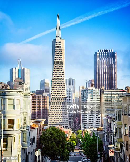 San Francisco Montgomery street view with Transamerica pyramid building
