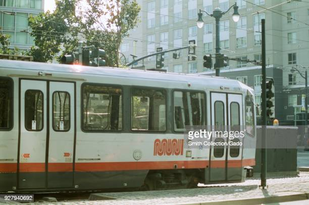 San Francisco Municipal Railroad street car train waiting for passengers in the South of Market neighborhood of San Francisco California October 13...