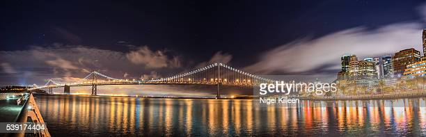 San Francisco - Oakland Bay Bridge at night. California, USA