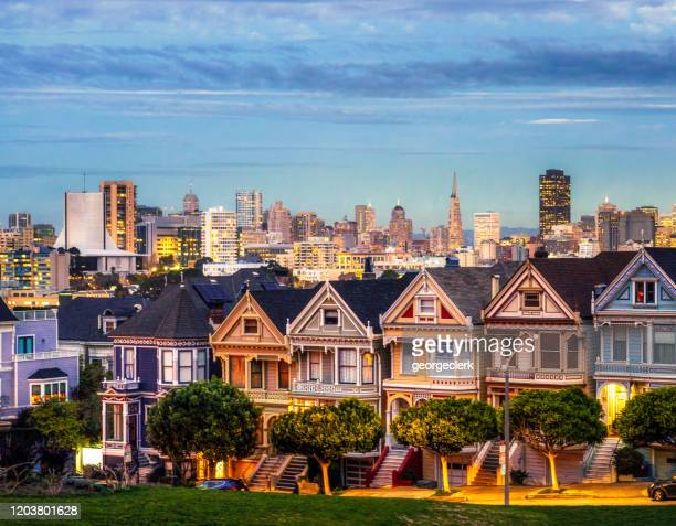 san francisco - painted ladies houses - san francisco california stock pictures, royalty-free photos & images