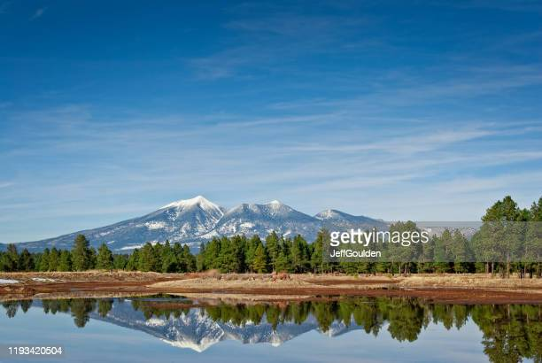 san francisco peaks reflected in a pond - jeff goulden stock pictures, royalty-free photos & images