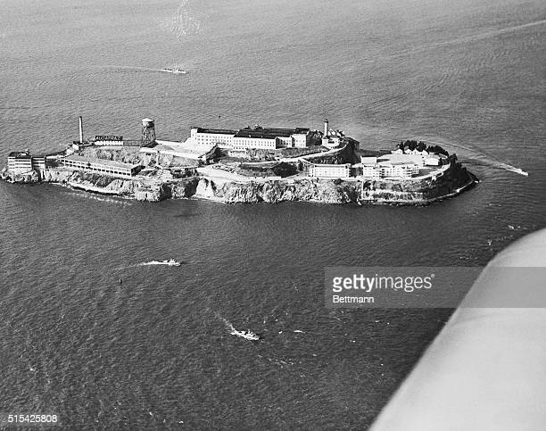 San Francisco police and Coast Guard patrol boats circle Alcatraz Island in response to call from Warden James Johnston as rioting breaks out in the...