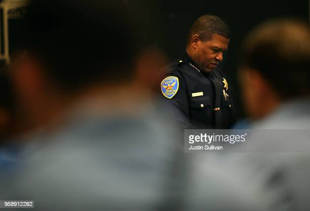 San Francisco police chief Bill Scott looks on during a news conference at the San Francisco Police Academy on May 15 2018 in San Francisco...