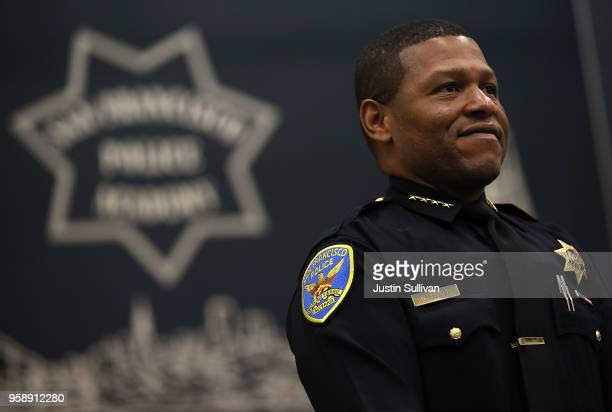 San Francisco police chief Bill Scott looks on during a news conference at the San Francisco Police Academy on May 15, 2018 in San Francisco,...