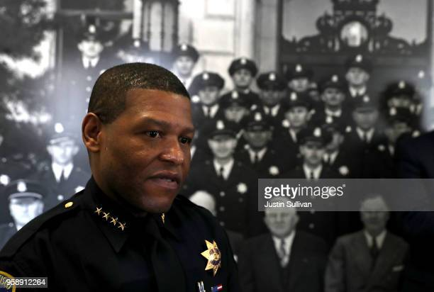 San Francisco police chief Bill Scott looks on following a news conference at the San Francisco Police Academy on May 15 2018 in San Francisco...