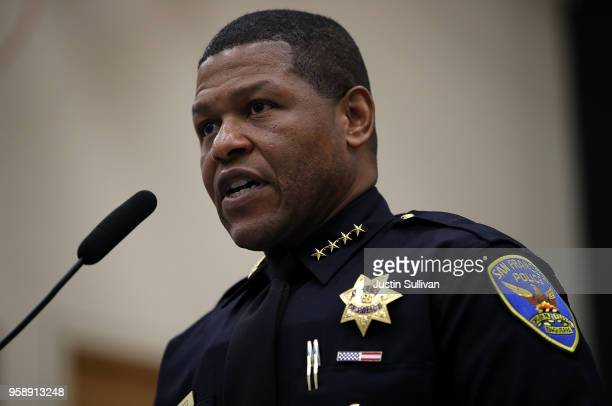 San Francisco police chief Bill Scott speaks during a news conference at the San Francisco Police Academy on May 15, 2018 in San Francisco,...