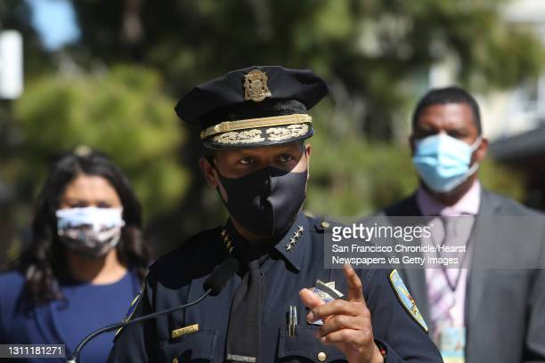 San Francisco Police Chief Bill Scott speaks during a press event at Portsmouth Square announcing the coalition of the Street Violence Intervention...