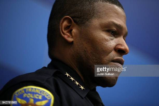 San Francisco police chief William Scott looks on during a press conference at San Francisco police headquarters on April 6, 2018 in San Francisco,...