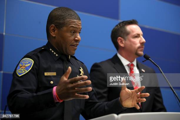 San Francisco police chief William Scott speaks during a press conference with special agent in charge of homeland security investigations Ryan...