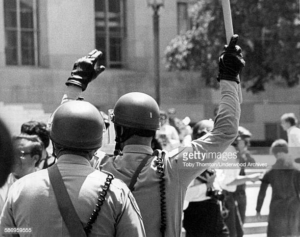 San Francisco police in riot gear prepare to move forward during the 'Free Huey' rally for Black Panther leader Huey Newton San Francisco California...
