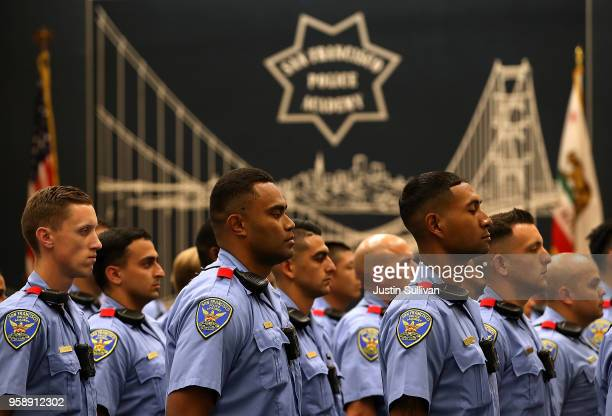 San Francisco police recruits look on during a news conference at the San Francisco Police Academy on May 15 2018 in San Francisco California San...