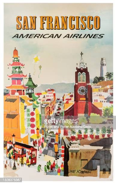 """""""San Francisco"""" poster depicting a view down a busy street, with a trolley, pagodas, and a church tower in the foreground, and Coit Tower in the..."""