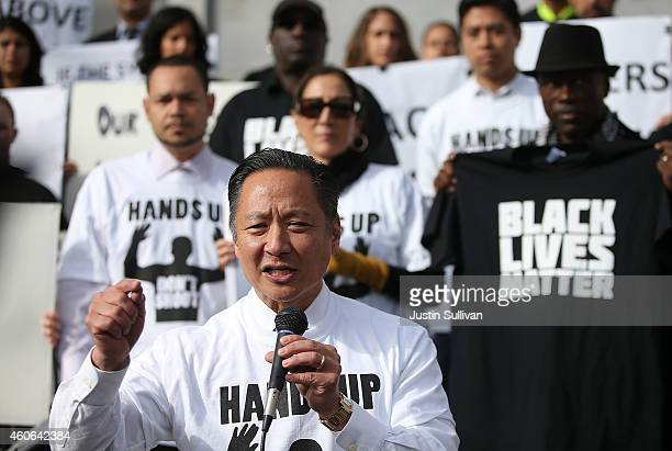San Francisco public defender Jeff Adachi speaks during a Hands Up Don't Shoot demonstration in front of the San Francisco Hall of Justice on...