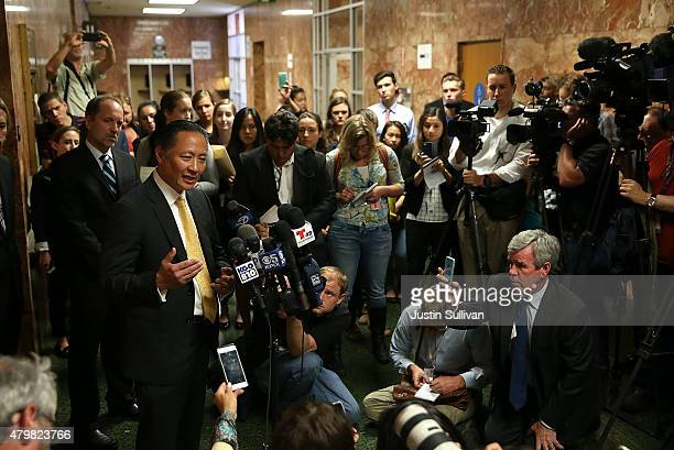 San Francisco public defender Jeff Adachi speaks with reporters after the arraignment for Francisco Sanchez on July 7 2015 in San Francisco...