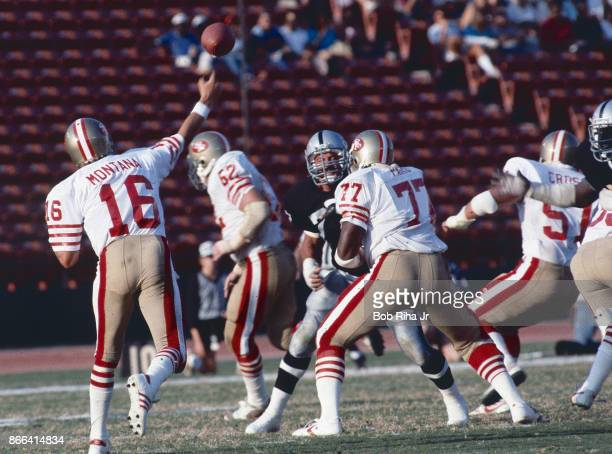 San Francisco quarterback Joe Montana throws downfield during 49'ers game against Los Angeles Raiders August 6 in Los Angeles California