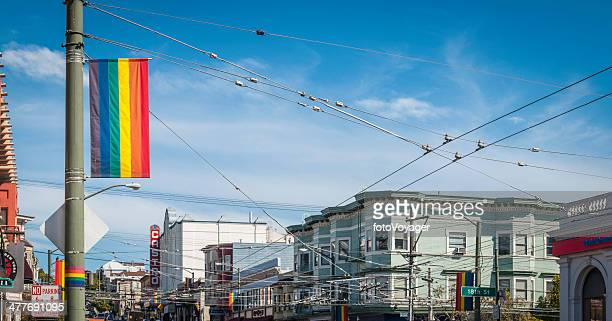 san francisco rainbow flag castro district street scene californian usa - castro district stock pictures, royalty-free photos & images