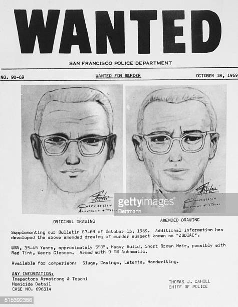 San Francisco police circulated this composite of the Bay Area's 'Zodiac' killer At left is a drawing from witnesses to slaying of a cab driver in...