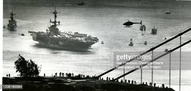 San Francisco says good bye, as the U.S. Navy aircraft carrier Coral Sea is outbound for the last time, March 21, 1983 Photo ran , p. 3