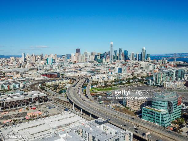 san francisco skyline above the 280 freeway - san diego stock pictures, royalty-free photos & images