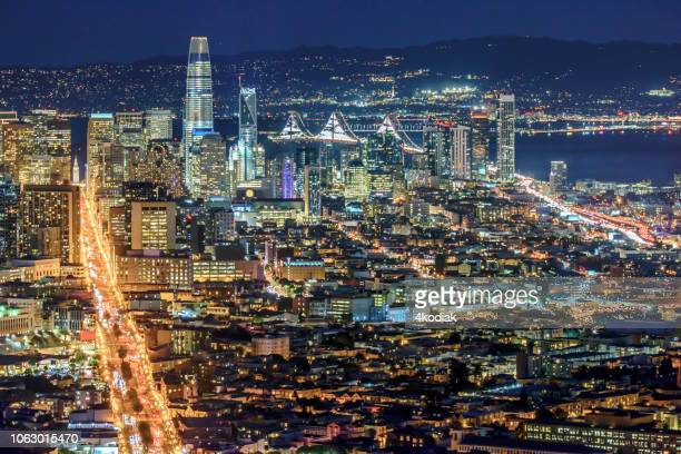 san francisco skyline aerial panoramic view before dark - oakland california skyline stock pictures, royalty-free photos & images