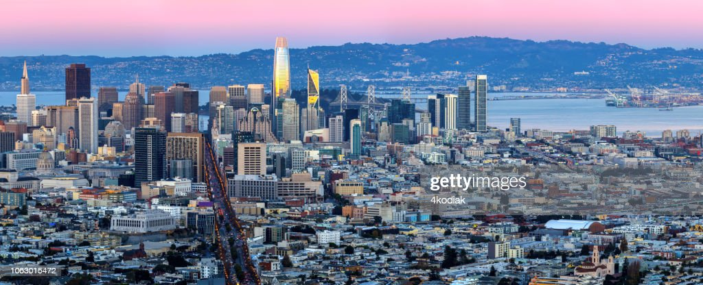 San Francisco Skyline Aerial Panoramic View before dark : Stock Photo