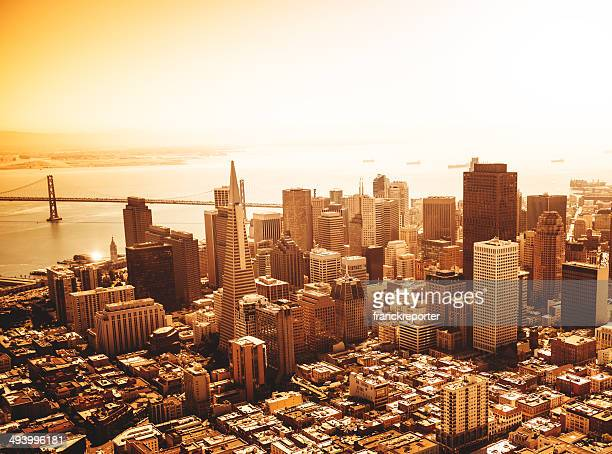 San francisco skyline aerial view at sunrise