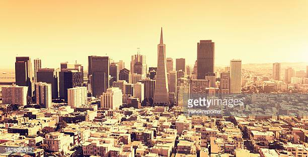San francisco skyline aerial view at sunset