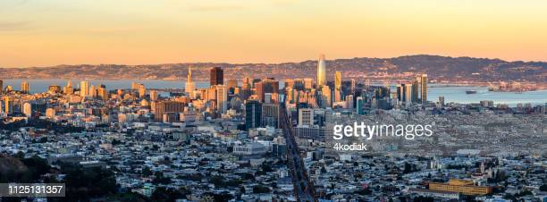 san francisco skyline aerial view - oakland california skyline stock pictures, royalty-free photos & images