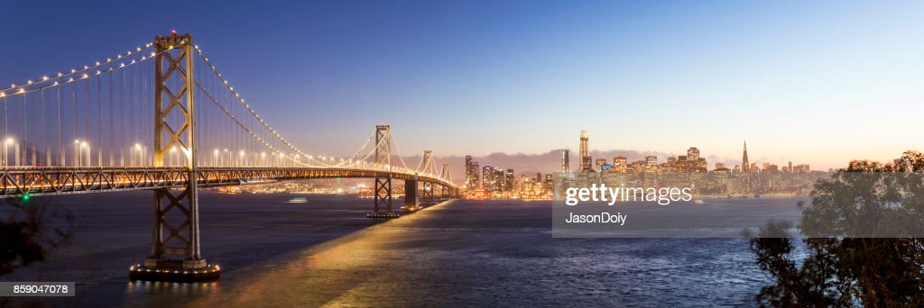 San Francisco Skyline and Bay Bridge : Stock Photo