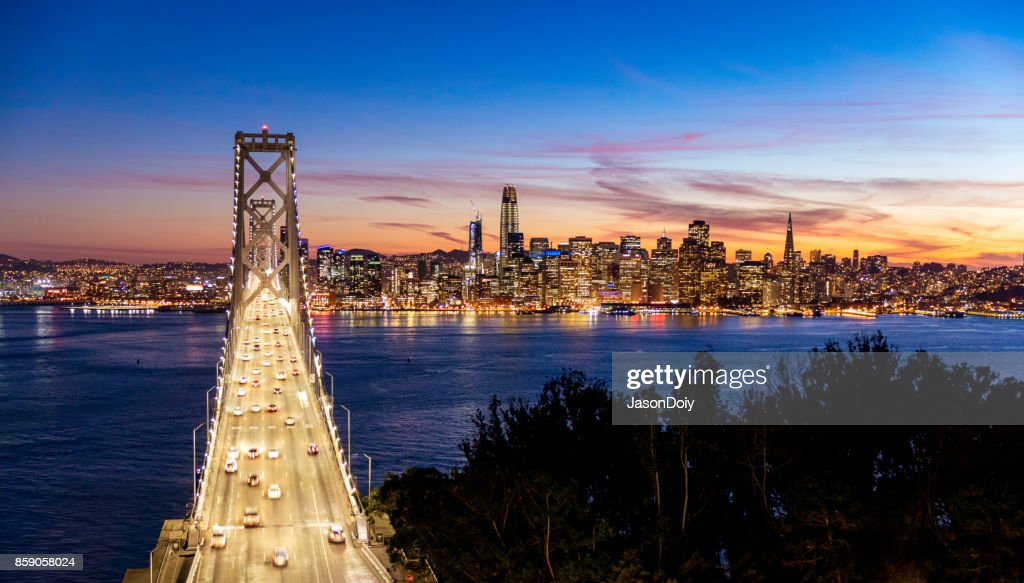 San Francisco Skyline and Bay Bridge : Stock Photo