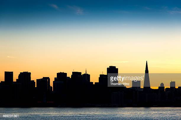 san francisco skyline silhouette stock photos and pictures getty