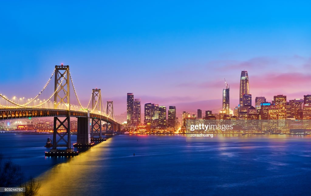 San Francisco Skyline at Sunset, California, USA : Stock Photo