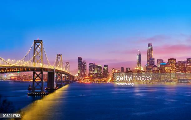 san francisco skyline at sunset, california, usa - san francisco california stock photos and pictures