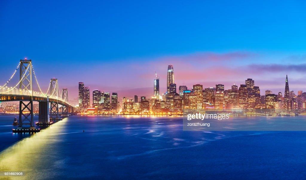 San Francisco Skyline at Sunset, California, USA : Stock Photo