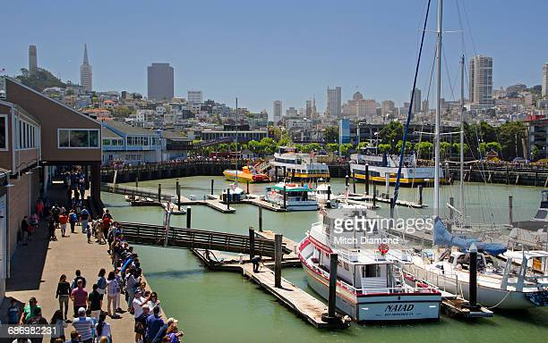 san francisco skyline from pier 39 - fishermans wharf stock pictures, royalty-free photos & images