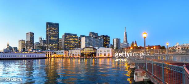 san francisco skyline looking from pier 7 in the evening hour - 2019 stock pictures, royalty-free photos & images