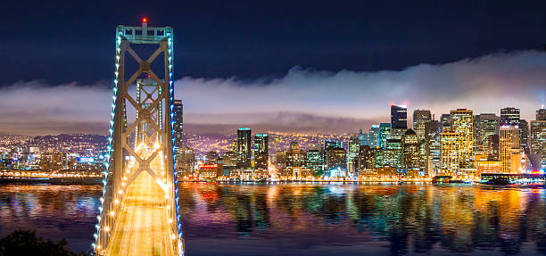 San Francisco Skyline Panorama And Oakland Bay Bridge At Night Wall Art