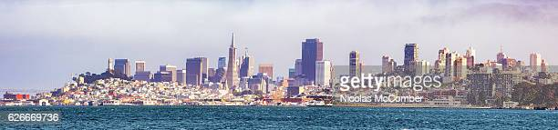 San Francisco skyline panorama from Bay on sunny day