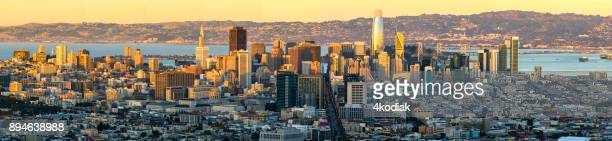 san francisco skyline panorama - san francisco california stock photos and pictures