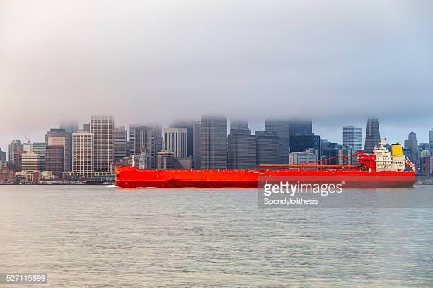 San Francisco skyline under low fog