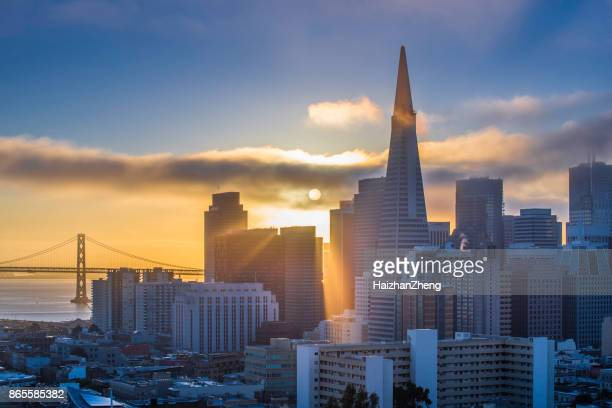 san francisco sunrise - san francisco california stock photos and pictures