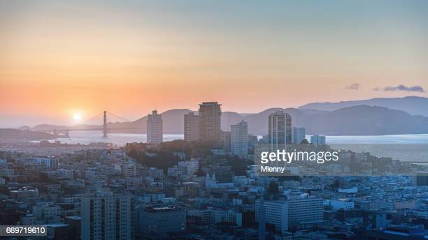 San Francisco Sunset Panorama Golden Gate Bridge California
