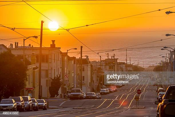 san francisco toward the sea under sunset - county stock pictures, royalty-free photos & images