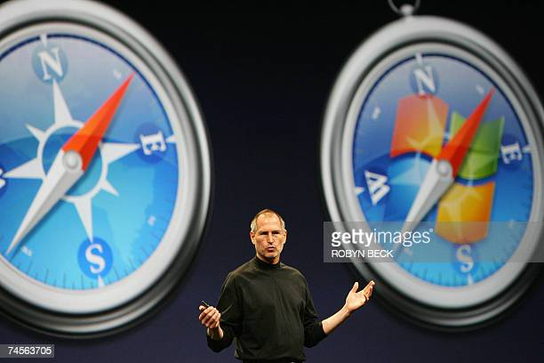 Apple Inc CEO Steve Jobs gives the keynote address on the opening day of the Apple Worldwide Developers Conference 2007 at the Moscone Center West in...