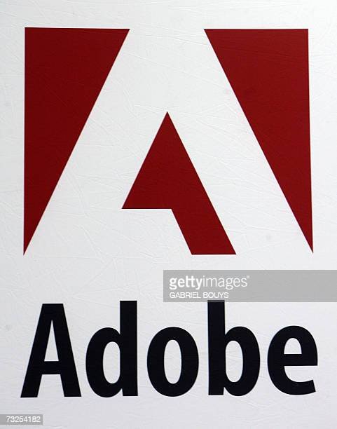 The Adobe logo is pictured at the RSA Conference 2007 in San Francisco 07 February 2007 AFP PHOTO/GABRIEL BOUYS