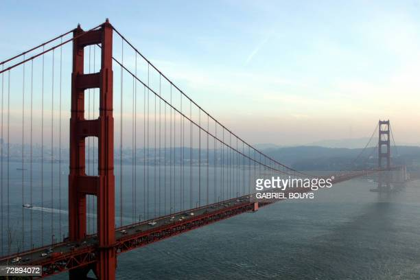 The Golden Gate Bridge is pictured 20 December 2006 in San Francisco California The Golden Gate is a suspension bridge spanning the Golden Gate the...