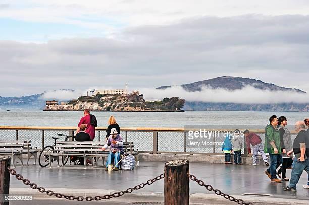 San Francisco Visitors on Pier 39 with views of Alcatraz